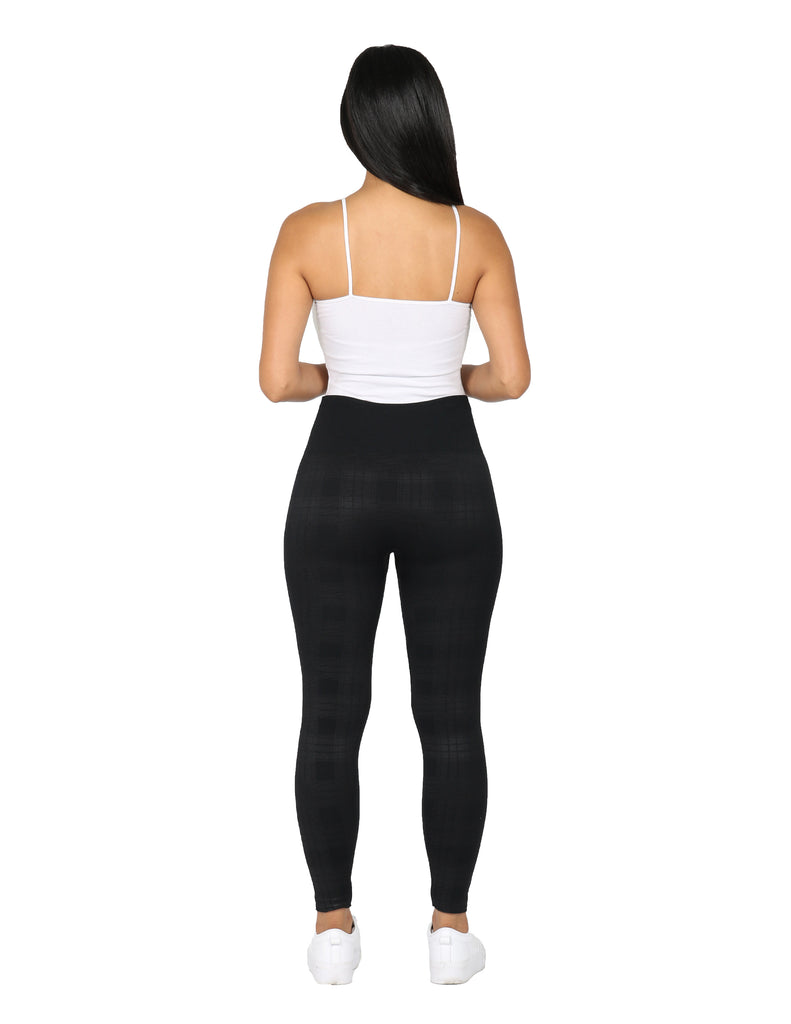 Embossed Plaid Seamless Legging