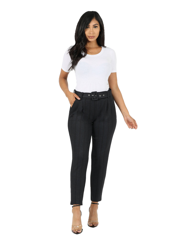 High Waist Ponte Plaid Trouser