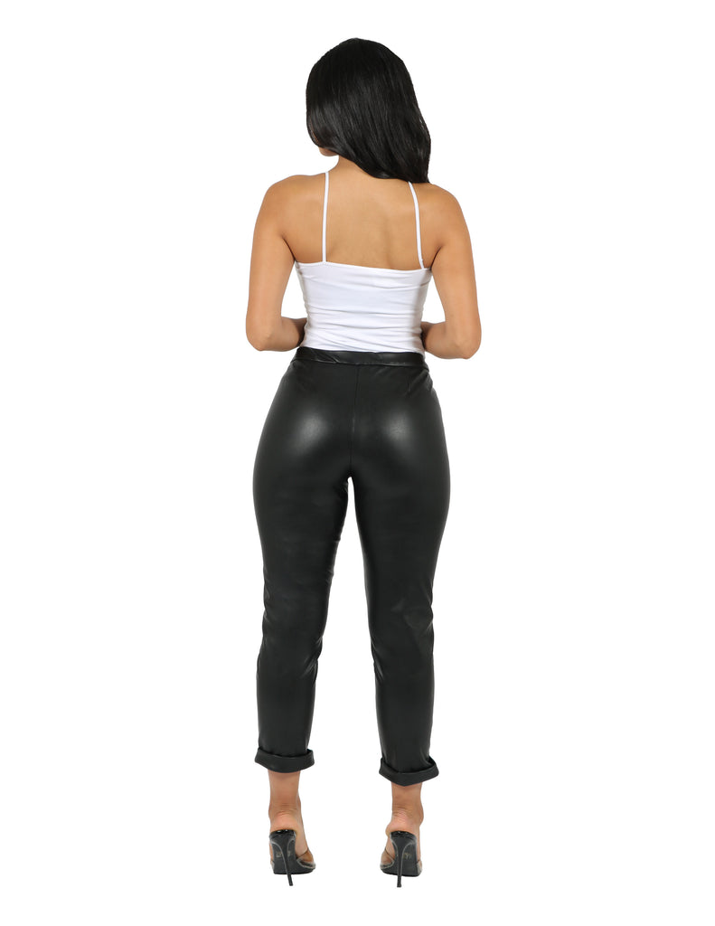 2 Way Stretch Vegan Leather Trouser
