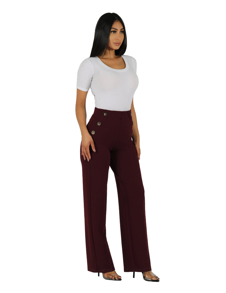Too Busy Knit Crepe Wide Leg Pull On Pant with Horn Button Detail