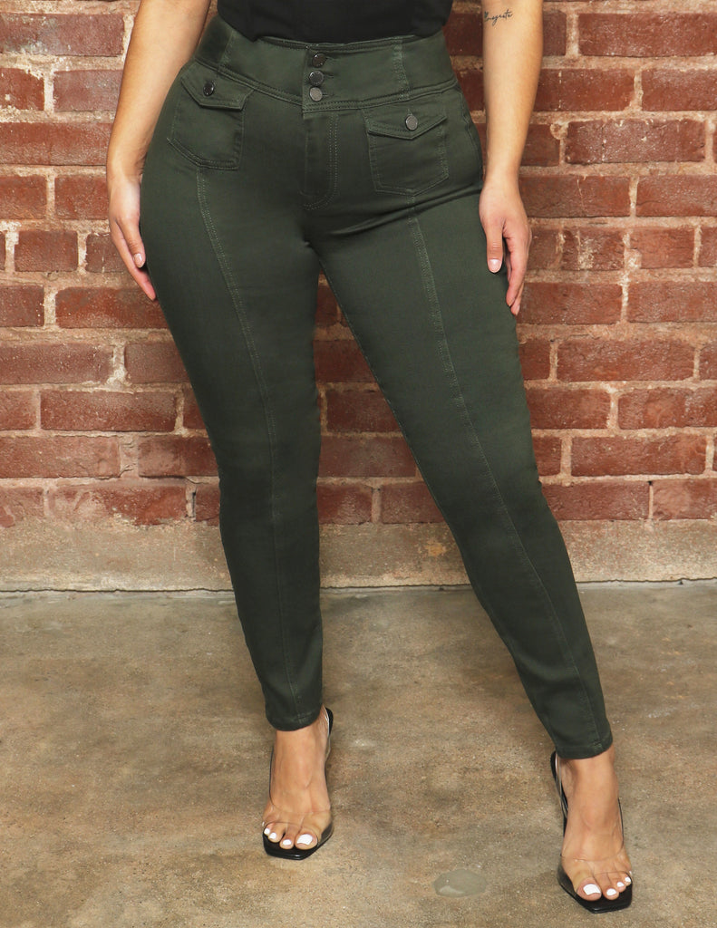 Ankle Skinny with Seams and Front Pockets shop bbj