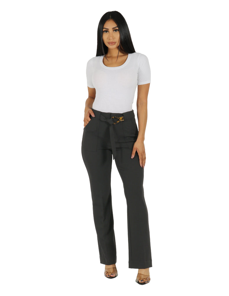 Knit Crepe High Rise Wide Leg Pant with Patch Pocket and Belt