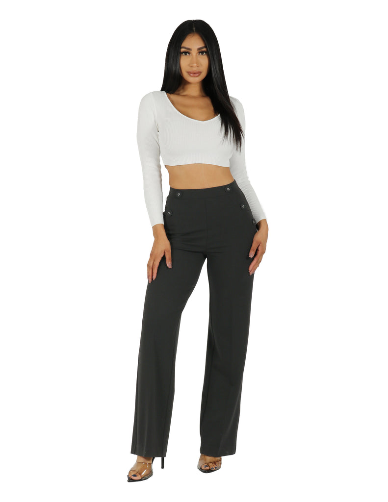 Knit Crepe High Rise Wide Leg with Self Covered 4 Hole Buttons