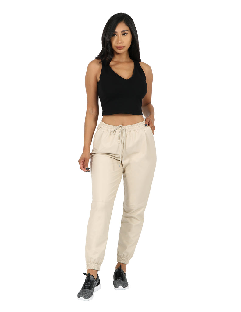 Vegan PU Leather Jogger