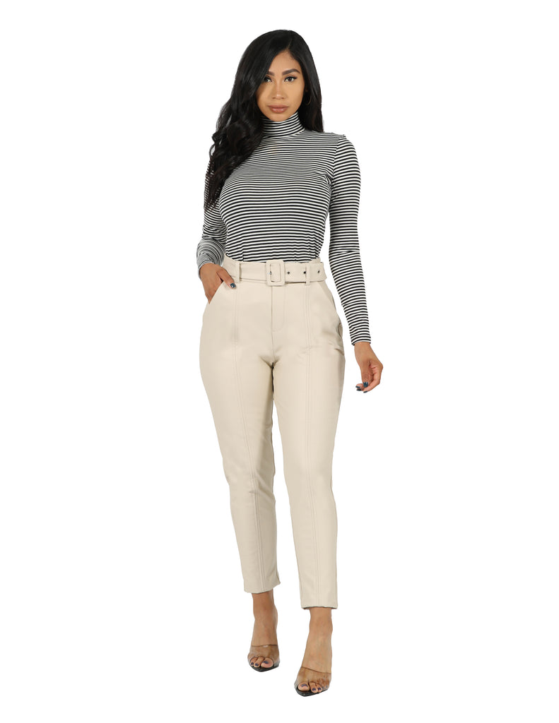 Vegan Pull On Self Belted Trouser Pant