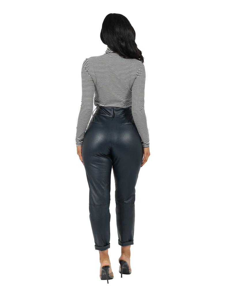 Vegan Leather Double Button Trouser