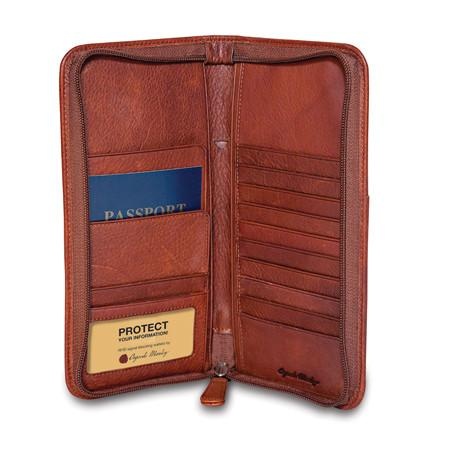 Leather Men's Travel Organizer Zippered RFID 1202