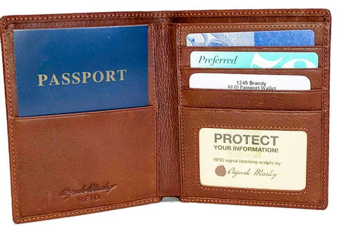 Leather Men's Passport Wallet RFID 1245