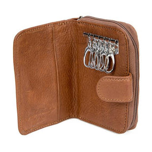 Leather Key Holder with Zip Pocket RFID (1296)