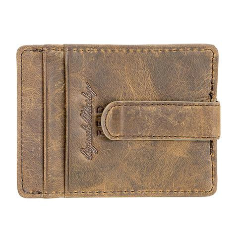 Distressed Leather Men's Wallet with ID Front Pocket Clip RFID  1303