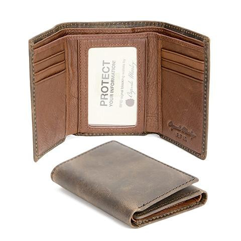 Distressed Leather Men's Wallet with ID Trifold RFID 1304