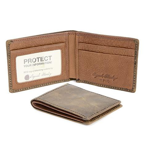 Distressed Leather Men's Wallet Ultra Mini Thinfold RFID 1306
