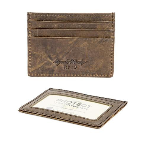 Distressed Leather Men's Credit Card Stack RFID 1307