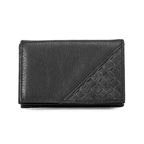 Leather Card Case Woven with ID Window RFID (1323)