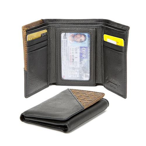 Leather Men's Wallet Woven Trifold with ID Window RFID (1324)