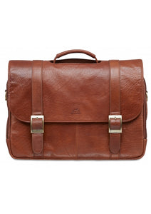 Leather Briefcase Double Compartment for Laptop/Tablet (1410-03)