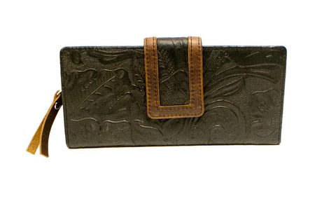 Floral Women's Leather Clutch Wallet RFID 1436