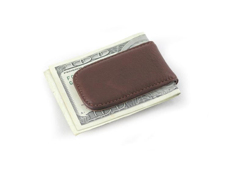 Leather Men's Money Clip Magnetic 1555