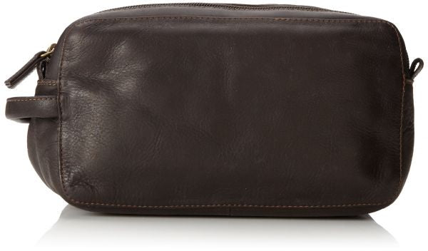 Leather Toiletry Bag Zippered Double Compartment (PB-1698)