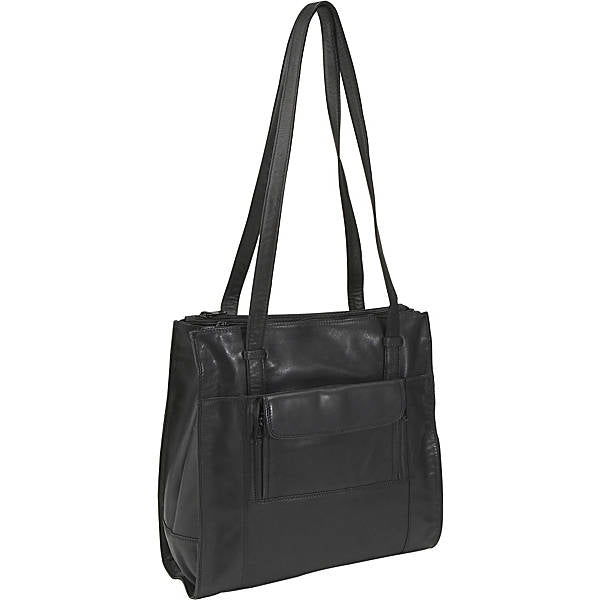 Leather Ladies' Handbag Triple Compartment North/South Shopper (OB-1760)