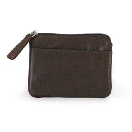 Leather Coin Purse with Zip Top and Hide-A-Key (1902)
