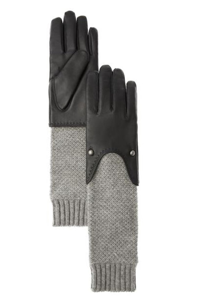 Ladies Leather and Knit Long Gloves