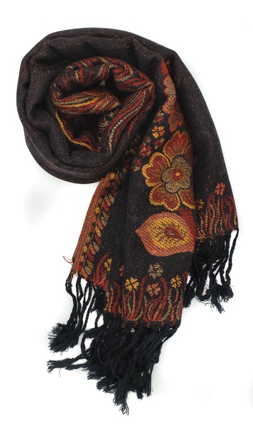 Floral & Feather Patterned Pashmina (Black)