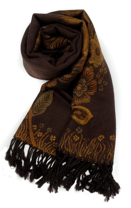 Floral & Feather Patterned Pashmina (Brown)