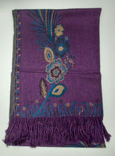 Load image into Gallery viewer, Floral & Feather Patterned Pashmina (Peacock)