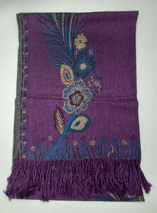 Floral & Feather Patterned Pashmina (Peacock)