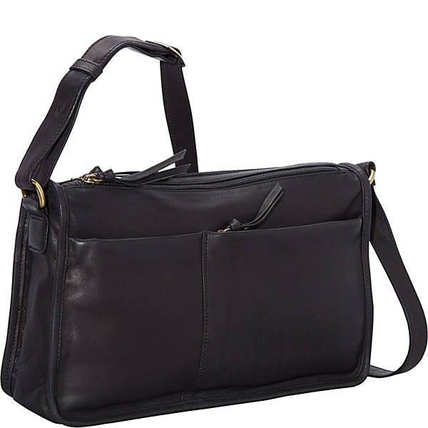 East/West Twin Top Zip Semi-Structured Handbag (FB-2151)