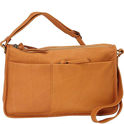 Leather Handbag East/West Twin Top Zip FB-2151 (Available in other colours)