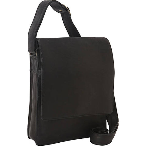 Leather Messenger Bag North/South 3/4 Flap (PB-8123)