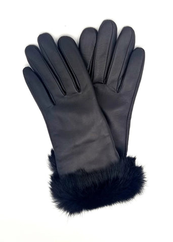 Leather Fur Trimmed Gloves (9130)