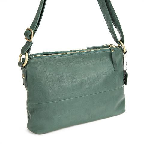 Leather Women's Bag with Double Zip Top RFID (7031)