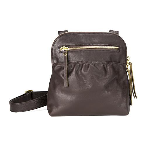 Leather Women's Crossbody Bag with Top Zip RFID (7038)