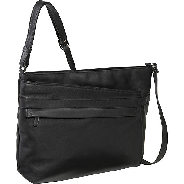 Leather Ladies' Handbag East/West Top Zip (OB-7228)
