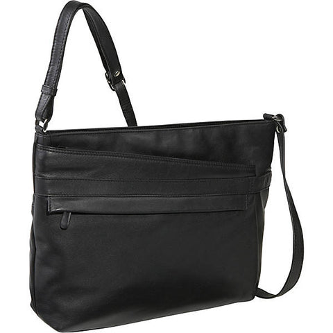 Leather Handbag East/West Top Zip (OB-7228)