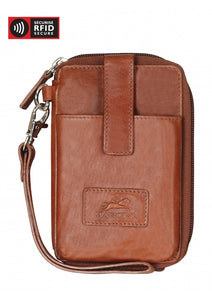 Leather Ladies' Wristlet  with Cell Phone Pocket RFID 8700044