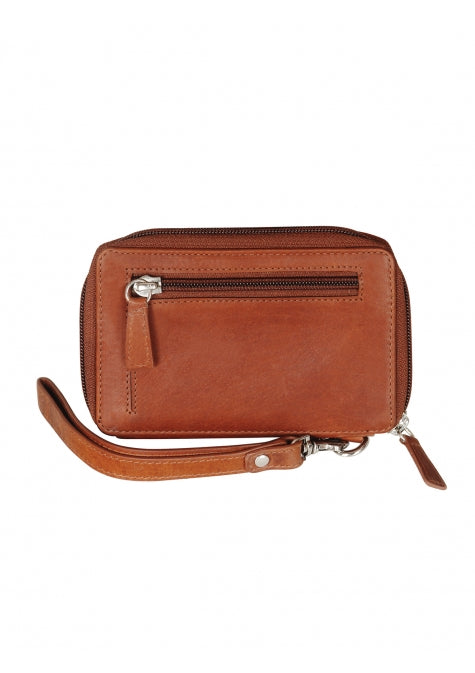 Leather Ladies' Wristlet  with Cell Phone Pocket RFID (8700044)