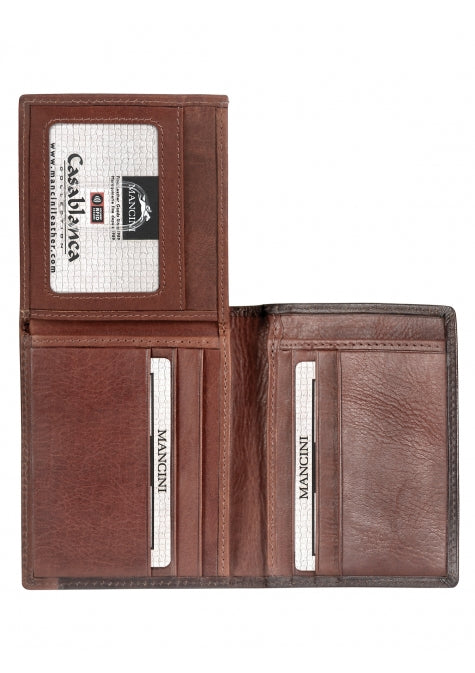 Leather Men's Wallet with Unique Vertical Wing RFID (8700853)