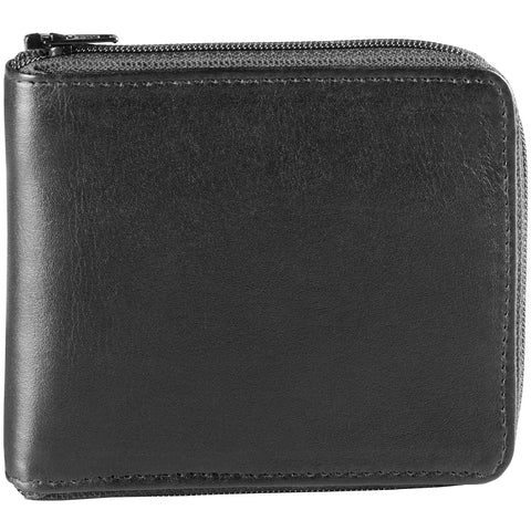 Leather Men's Wallet Credit Card Billfold Zip Around (BR-1296)