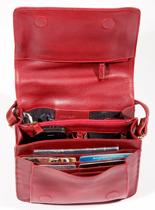 Leather Ladies' Handbag with 3/4 flap and front organizer (BR-8007)