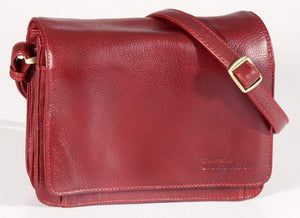 Leather Ladies' Handbag with 3/4 flap and front organizer