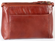 Load image into Gallery viewer, Leather Ladies' Handbag with three top zip compartments (BR-8012)