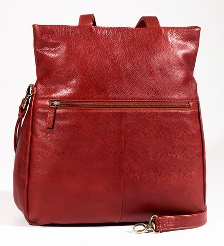 Leather Ladies' Handbag Large North/South with Removable Cross Shoulder Strap (BR-8023)