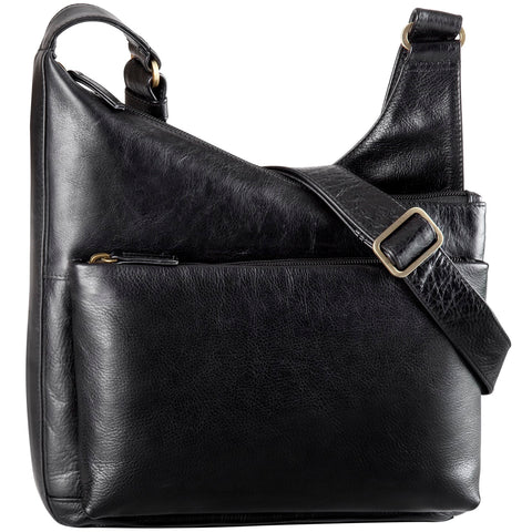 Leather Handbag Angle Top Zip Close (BR-8025)