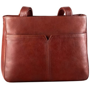 Leather Ladies' Handbag Tablet Friendly with V Front Detail (BR-8079)