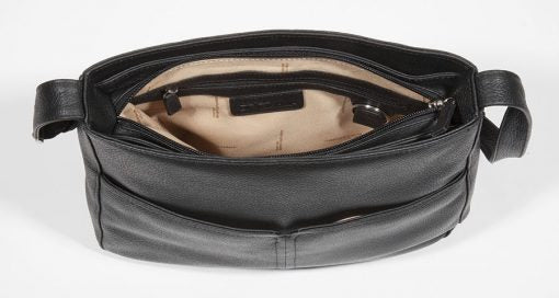 Leather Ladies' Handbag with Large Inset Zip X-Body (CH-1204)