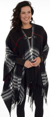Plaid Cape with Metal Closure and Fringe